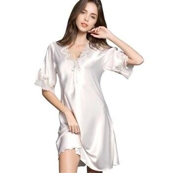 a357f16319a7f Yeni Kadın Saten Pijama Ipek Gecelik Yarım Kollu Nakış gece elbisesi Seksi  Iç Çamaşırı Gecelik Elbise Gömlek Kıyafeti Gecelik