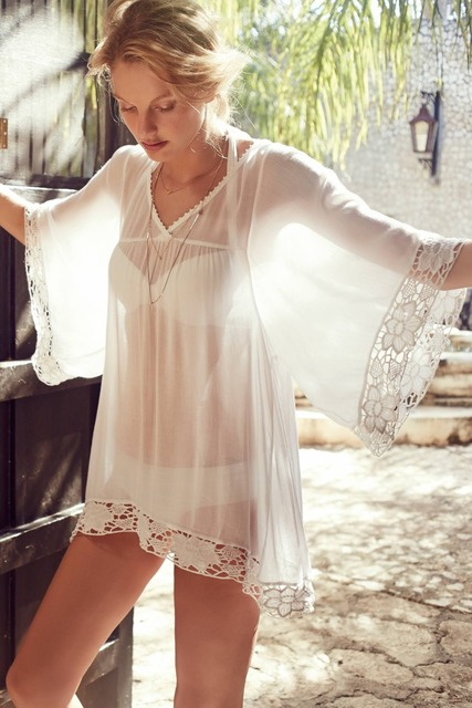 490a68ef19 Women White Casual Dress Lady Sexy Caftan Bathing Suit Beach Dresses for  Summer Beach