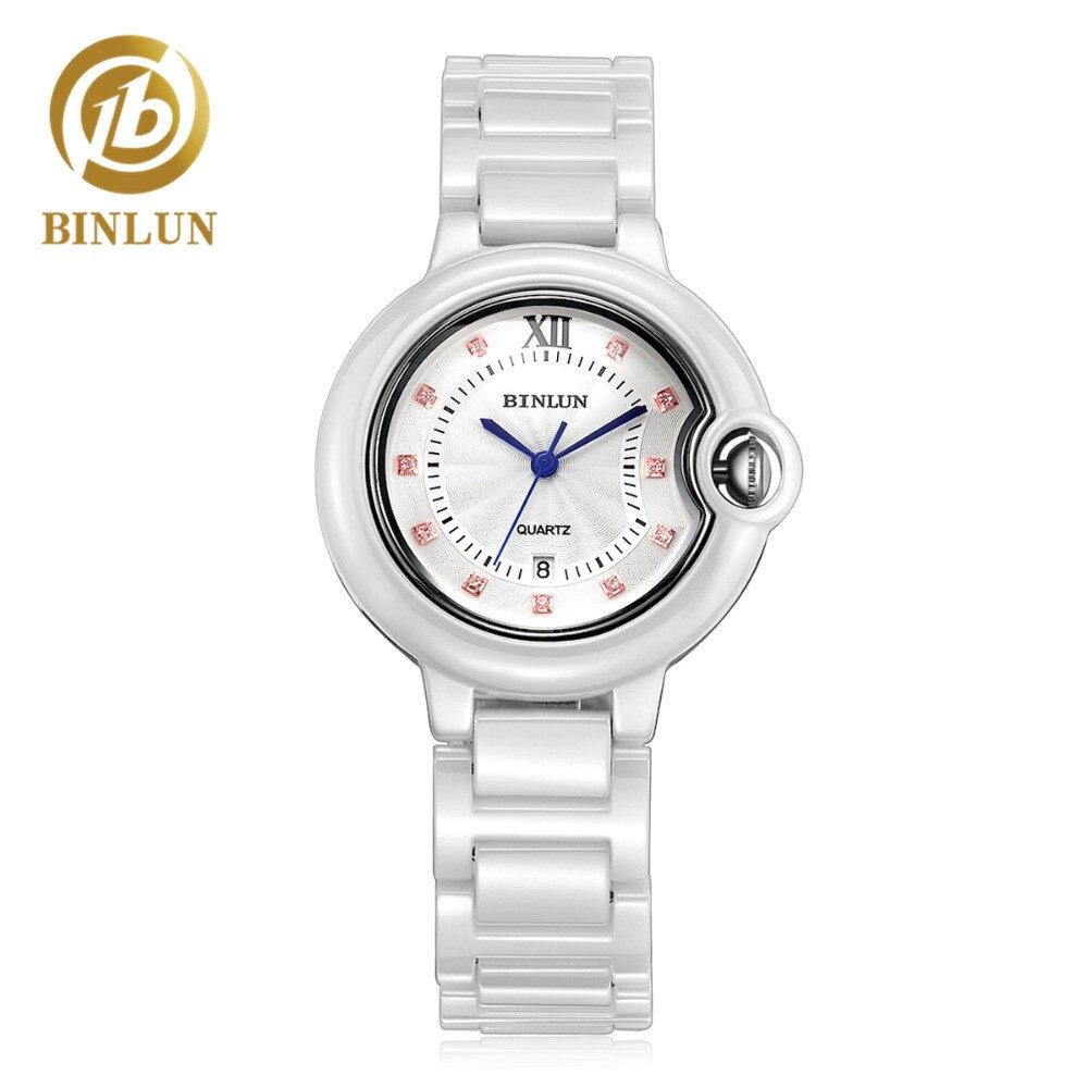 BINLUN luxus fehér kerámia női kvarcóra elegáns gyémánt - Férfi órák