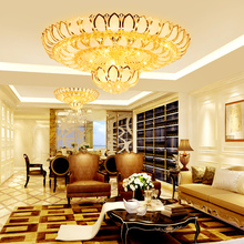 LED Lights Modern Ceiling Lighting Fixture Crystal Lamp American Golden Lotus Flower Home Indoor