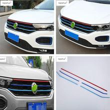 Lapetus Accessories For Volkswagen T-Roc T Roc 2018 2019 ABS Front Head Grille Grill Decoration Strip Molding Cover Kit Trim lapetus accessories for toyota camry 2018 2019 matte carbon fiber abs front head light switches button molding cover kit trim