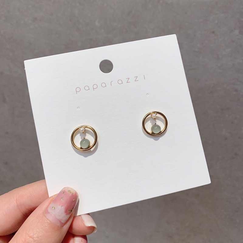 MENGJIQIAO 2019 Korean New Fashion Green Crystal Metal Circle Stud Earrings For Women Cute Simulated Peal Pendientes Jewelry