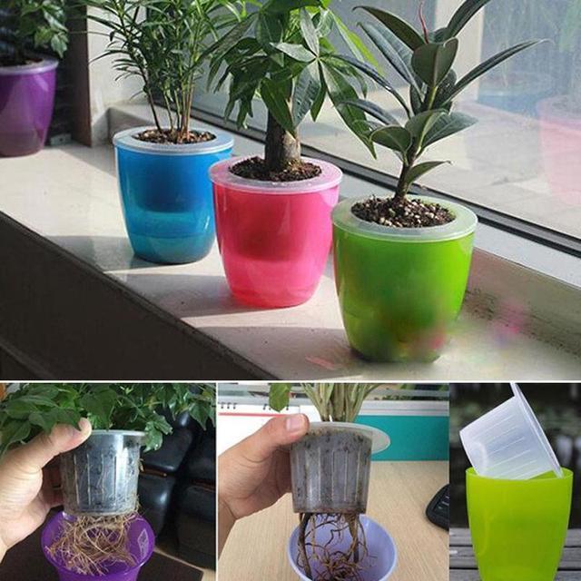 Automatic Water Absorption Plastic Flower Pot De Fleur Colorful Succulent Planter Bonsai Pot Home Garden Decoration
