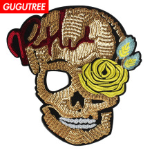 GUGUTREE embroidery paillette big skull patches sequin skeleton badges applique for clothing