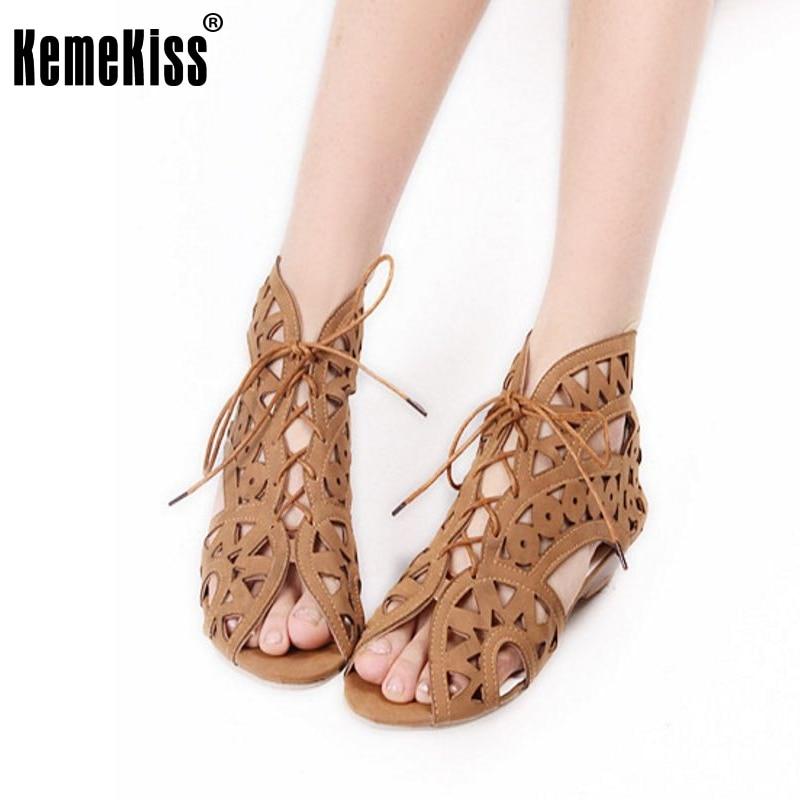 Big Size 34-43 Fashion Cutouts Lace Up Women Sandals Open Toe Low Wedges Bohemian Summer Shoes Beach Shoes Women русские подарки подсвечник снеговик