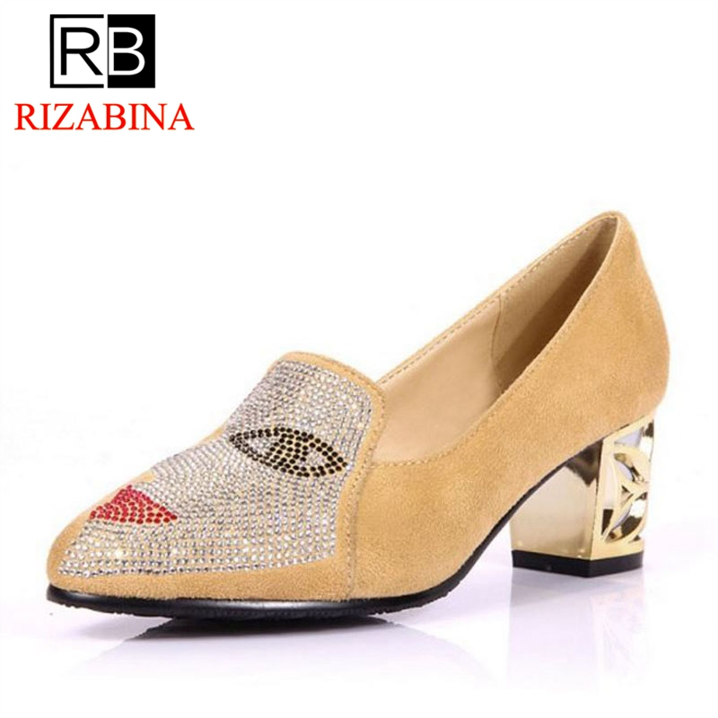 RizaBina Plus Size 31-48 Fashion Women Pumps Slip On Crystal Thick High Heels Shoes 4 Color Leisure Office Shoes Women FootwearRizaBina Plus Size 31-48 Fashion Women Pumps Slip On Crystal Thick High Heels Shoes 4 Color Leisure Office Shoes Women Footwear