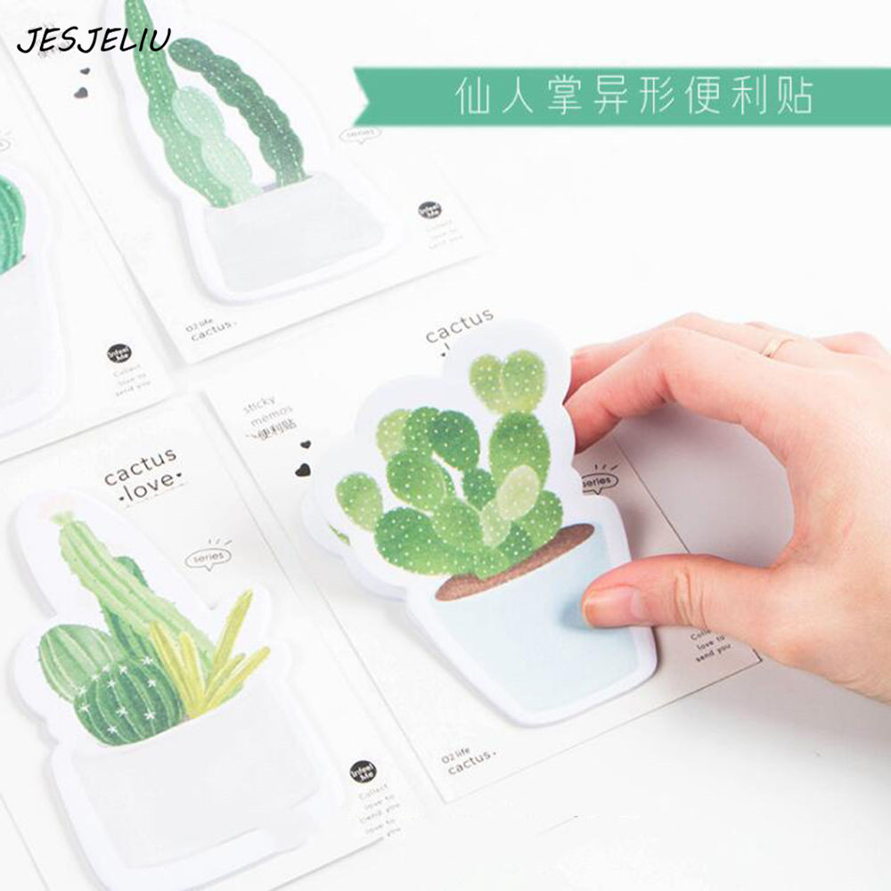 Cactus sticky notes Green plants memo pads Post label Stationery Office School supplies material escolar