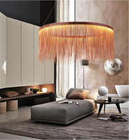 Postmodern designer Round Pendant Lights Nordic tassel restaurant luxury hotel engineering chain living room art hang lamps
