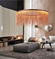 Postmodern designer Round Pendant Lights Nordic tassel restaurant luxury hotel engineering chain living room art hang lamps