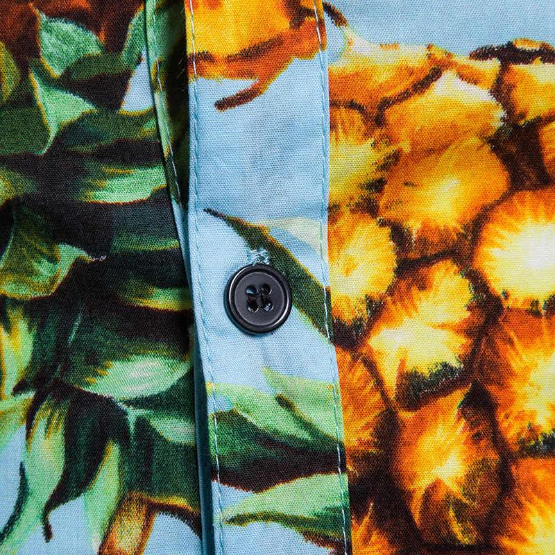 2019 гавайская рубашка мужская летняя пляжная Праздничная рубашка мужская одежда Стильный ананас 3D принт с коротким рукавом Chemise Homme Aloha рубашка