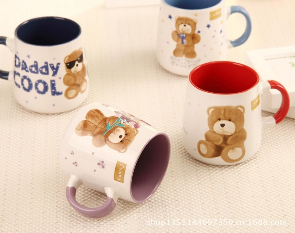 Free shipping New 2013 Zakka Creative Teddy Bear <font><b>inside</b></font> glaze ceramic mug Coffee <font><b>cup</b></font> Tea <font><b>cup</b></font> Christmas gift Girl gift Hot model