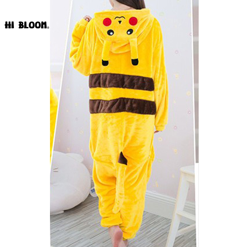 HI BLOOM Pikachu Jumpsuits Animal Hoodie Sleepwear Home Wear Adult Children Pikachu Onesie Costume Children Cartoon Pajamas