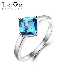 Leige Jewelry Swiss Blue Topaz Ring Wedding Ring Cushion Cut Blue Gemstone Solid 925 Sterling Silver November Birthstone Ring