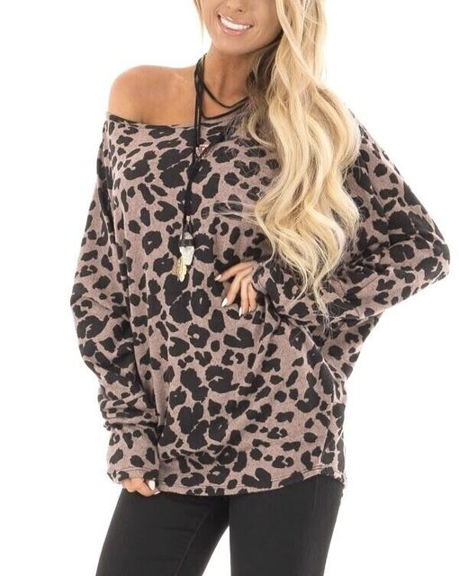 97370d1fc3 women 2018 Autumn Flannel top Batwing Sleeve one shoulder Casual t shirt  Women Long Sleeve Sexy Leopard Print Fashion Shirt