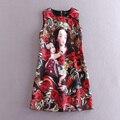 Освобождает доставка мода взлетно-посадочной полосы короткие платья женщин черный о богиня печать жаккарда хлопка платья для женщин бренда 112908