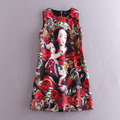 Frees Shipping Fashion Runway Short Women Dress Black O Neck Goddess Print Jacquard Cotton Dresses For Women Brand Dress 112908