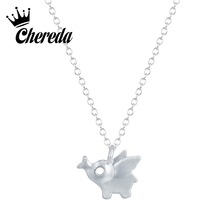 Chereda Cute Silver Color Tiny Elephant Creative Necklace&Pendant Chain Statement Choker Collar for Women stunning rhinestoned elephant pendant necklace for women