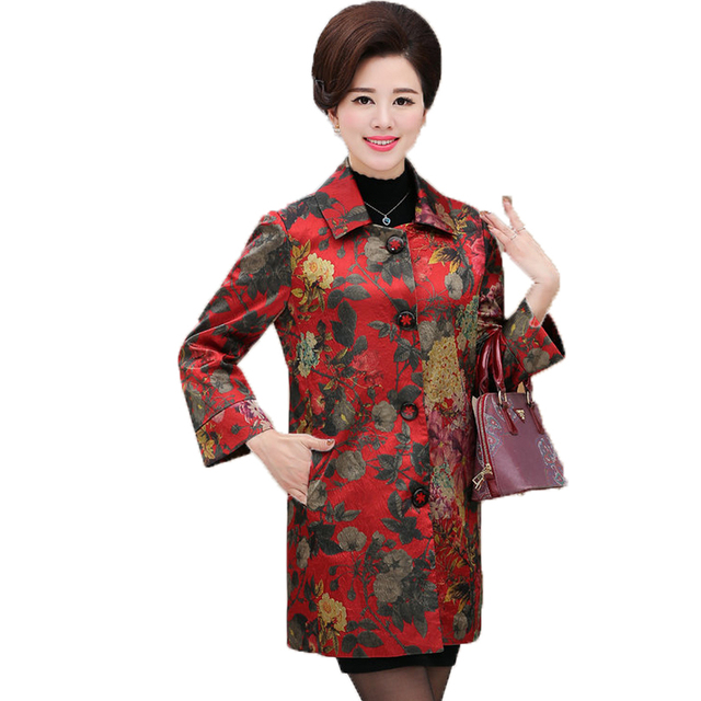 Chinese Women's Elegant Floral Trench Coats Single-breasted Duster Coat Matrue Woman Office Outfit Mandeau Femme Overcoats 2017