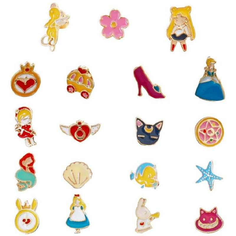 2019 Cute japanese earrings Anime earrings Cartoon Women Earrings Alice Stud Earrings lovely Cinderella Mini Ear Clip jewerly