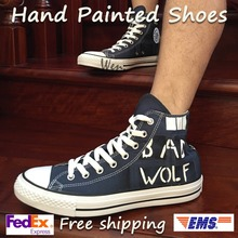 b8314257da28 Wen Hand Painted Shoes Design Custom Doctor Who BAD WOLF High Top Blue