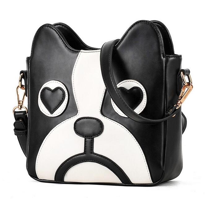 Fashion new handbags High quality PU leather Women bag Black and white hit color Sweet girl printing Dog Shoulder Female bag sweet women s tote bag with color block and pu leather design