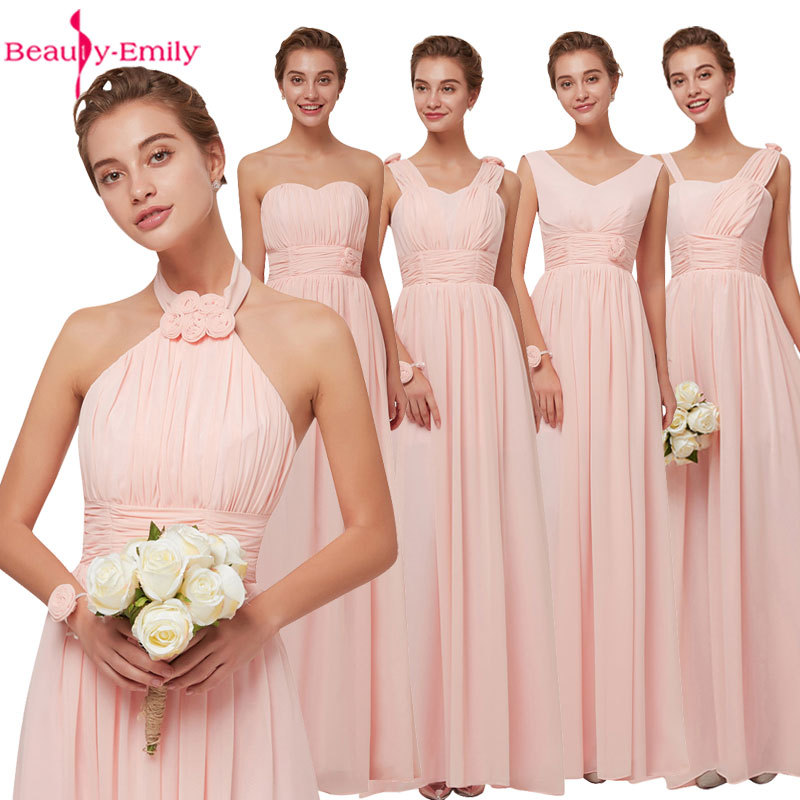 2019 Graduation Party Chiffon Prom Dress Pink Long Evening Dress Six Design Available Homecoming Dresses Cheap Vestido De Festa