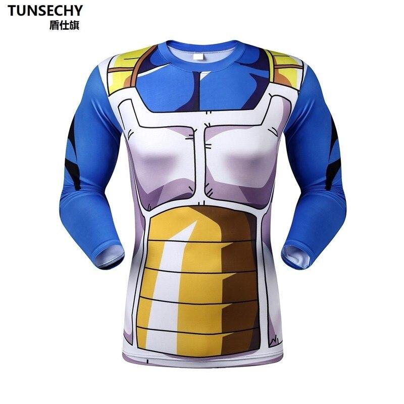 Anime Dragon Ball Z Vegeta Super Saiyan Goku Piccolo 3D T-shirt Mannen Kostuum Fitness Tee T-Shirt Lange Mouw Jersey