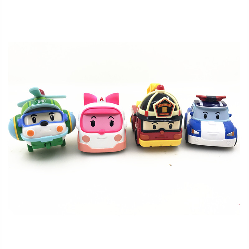 4Pcs/Set KIds Toys Metal Model Anime Figure Robot Car Toys Robocar Poli Non-Deformation Korea Toys For Children Gifts