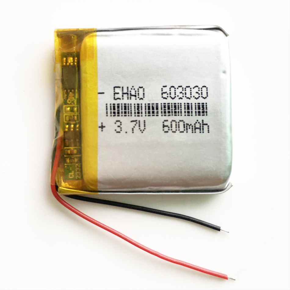 <font><b>3.7V</b></font> <font><b>600mAh</b></font> 603030 Lithium Polymer LiPo Rechargeable Battery For Mp3 PAD DVD E-book bluetooth speaker camera GPS headset image