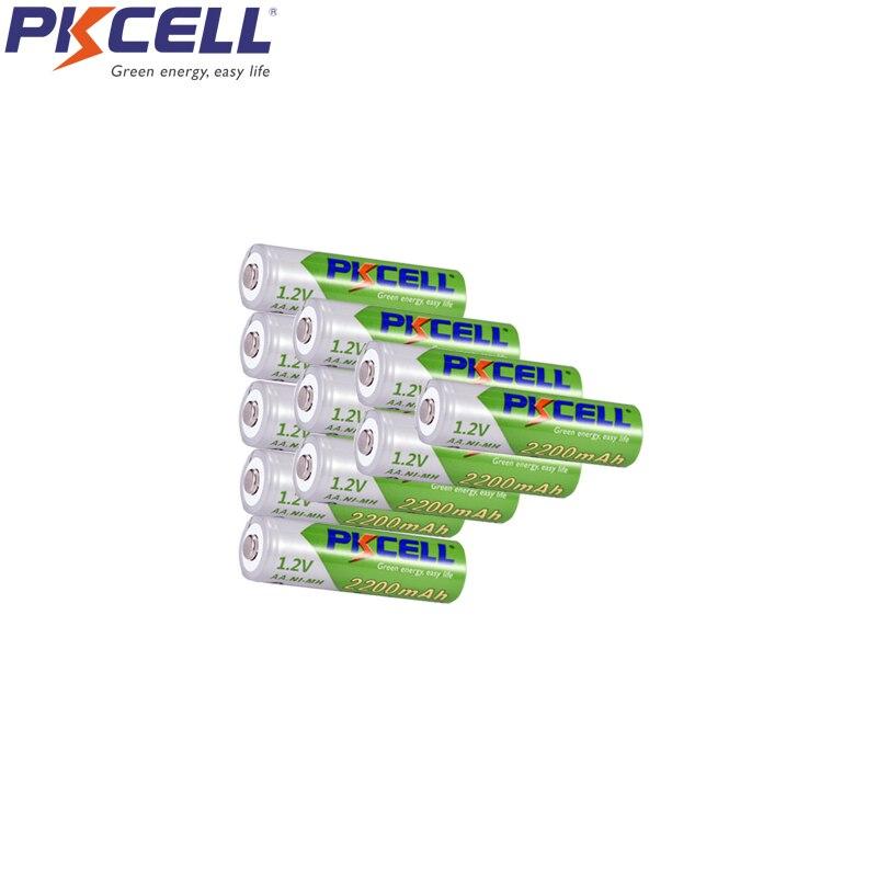 10Pcs PKCELL AA Pilhas aa 2200mah NIMH Recarregáveis Da Bateria Baixa Auto Descarga 1.2v LSD Para Carro de Brinquedo MP3 MP4 Player escova de Dentes