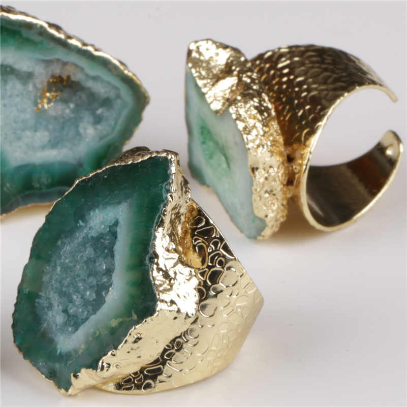 Big Gold Rim Vintage Retroสีเขียวเข้มGeodeคริสตัลSliceหินลูกปัดCharmปรับเปิดแหวนค้อนทุบCuffสำหรับผู้หญิงMan