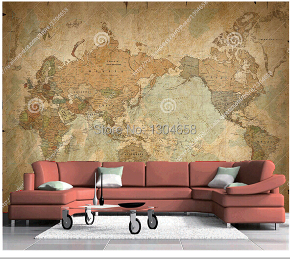 Custom retro papel DE parede large murals Classic World Map used in the sitting room  bedroom TV setting wall vinyl wallpaper the physical world wall map material laminated