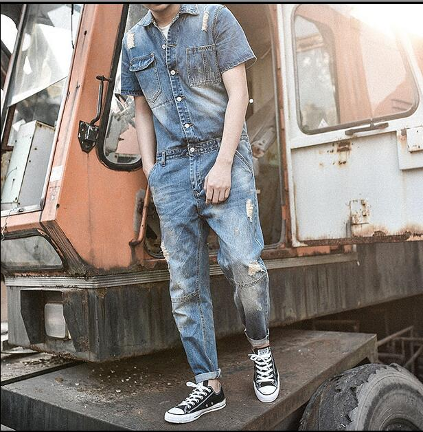 94450a6f645 2017 New Arrival Harajuku Mens Vintage Slim short sleeve One piece Rompers  denim jean overalls Hole ripped jumpsuit korean style