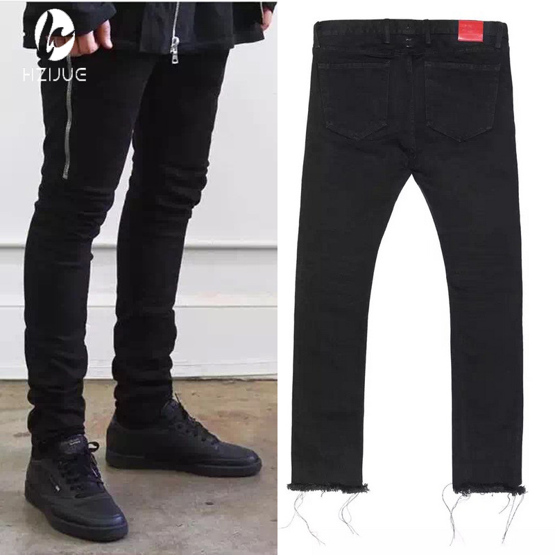 ФОТО Mens Black Skinny Jeans 424 FourTwoFour Side Zipper Raw Edges Men Designer Denim Jeans Kpop Streetwear Free Shipping