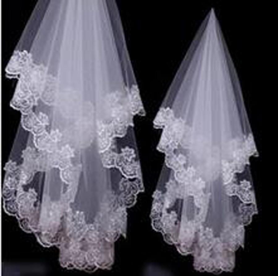Lace Applique Elegant Wedding Veil Women 150CM 300CM long White Ivory Color