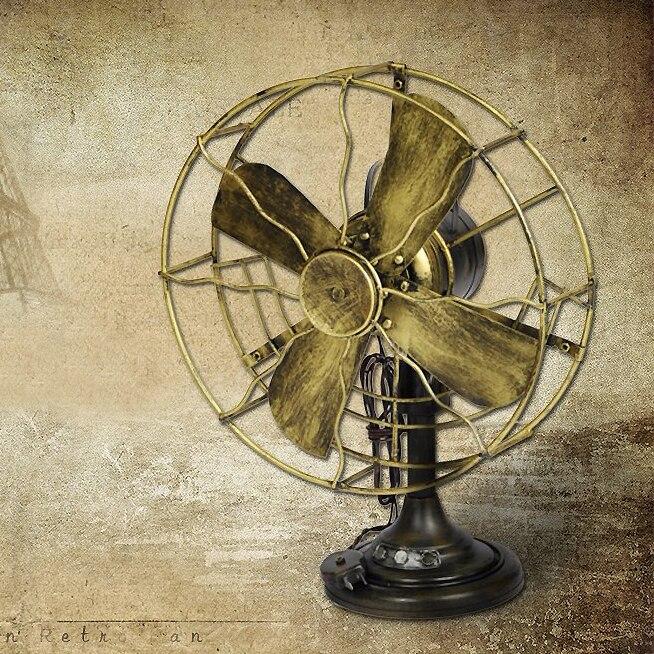 ФОТО Classic Bronze Tinplate Electric Fan Collections Showcase Craftwork Handmade Retro Ironwork Post Models