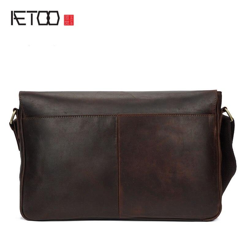 AETOO Crazy horse skin men bag tide package retro Messenger bag head cowhide male leather bag shoulder bag