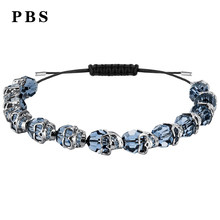 PBS High Quality 1:1 Exquisite Swa Jewelry 2019 New Crystal Skull Bracelet Logo Free Package Manufacturers Wholesale(China)