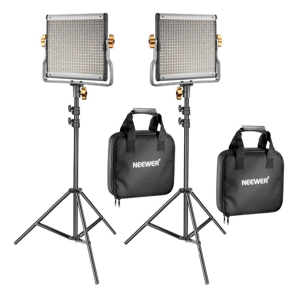 Neewer 2 Pack Dimmable Bi-color 480 LED Video Light and Stand Lighting Kit for YouTube Studio Photography Video Shooting
