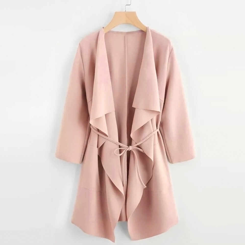 NEW jacket women Casual Waterfall Collar Pocket Front Wrap Coat Jacket Outwear veste femme coat women chaqueta mujer