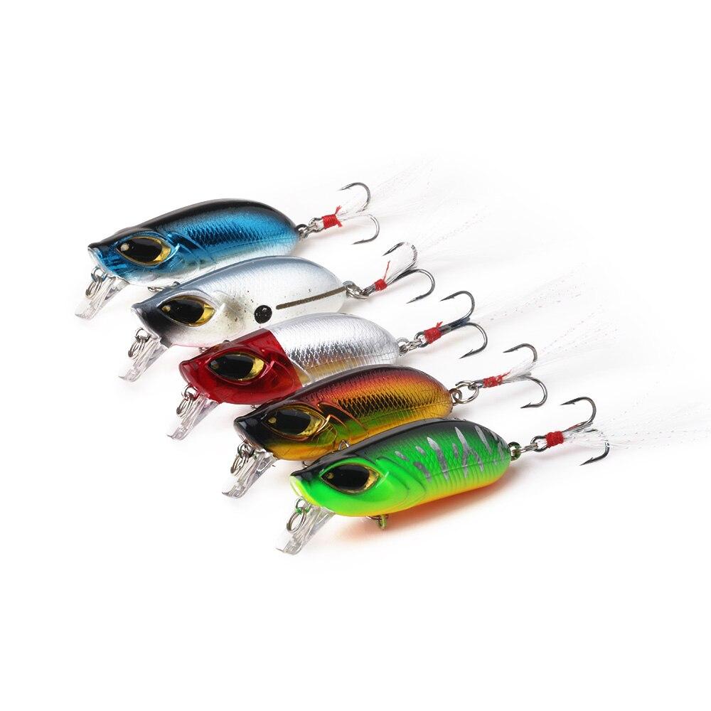 HENGJIA 5PCS Minnow Fishing Lures Crankbaits Set Fishing Hard Baits 5.5CM-8G Diving 0.5-1.2M Feather Hook Fishing Tackle