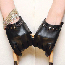 New Womens Ladies Real Leather Rivet Gloves Short Fashion Punk