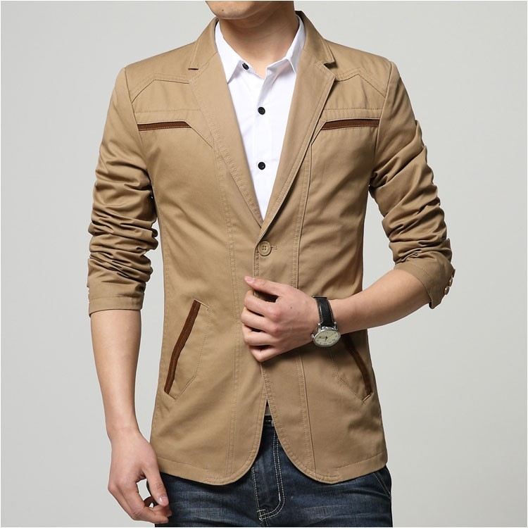 2015 Autumn Comfortable Cotton Blazers Men Two Buttons Solid Design Casual Blaser Jacket Blazer Masculino Slim Black grey khaki1