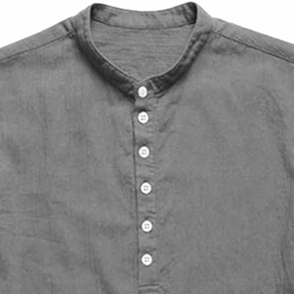 2019 새로운 스타일 뜨거운 판매 남자의 헐렁한 코 튼 린 넨 긴 소매 단추 레트로 V 넥 T 셔츠 탑스 블라우스 고품질