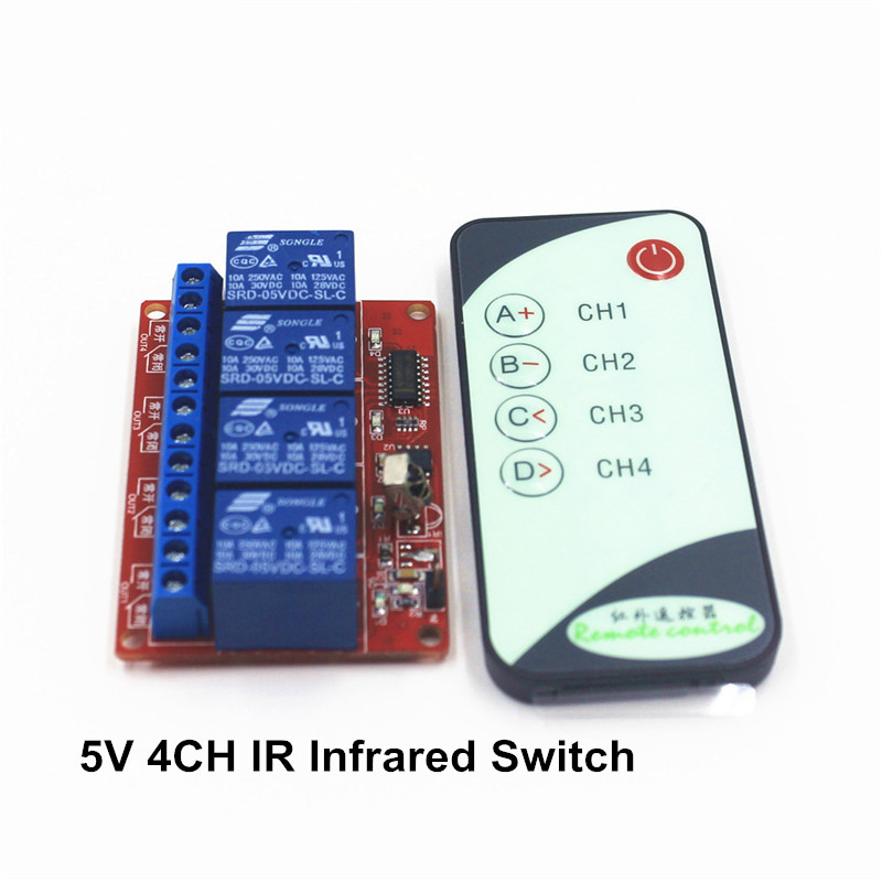 4-Channel Way 5V IR Wireless Remote Control Switch Receiver Relay , with a Infrared Controll Transmmiter ir dc 5v remote control switch 1 channel relay module board with 1 key infrared wirelesstransmitter ir01 jog