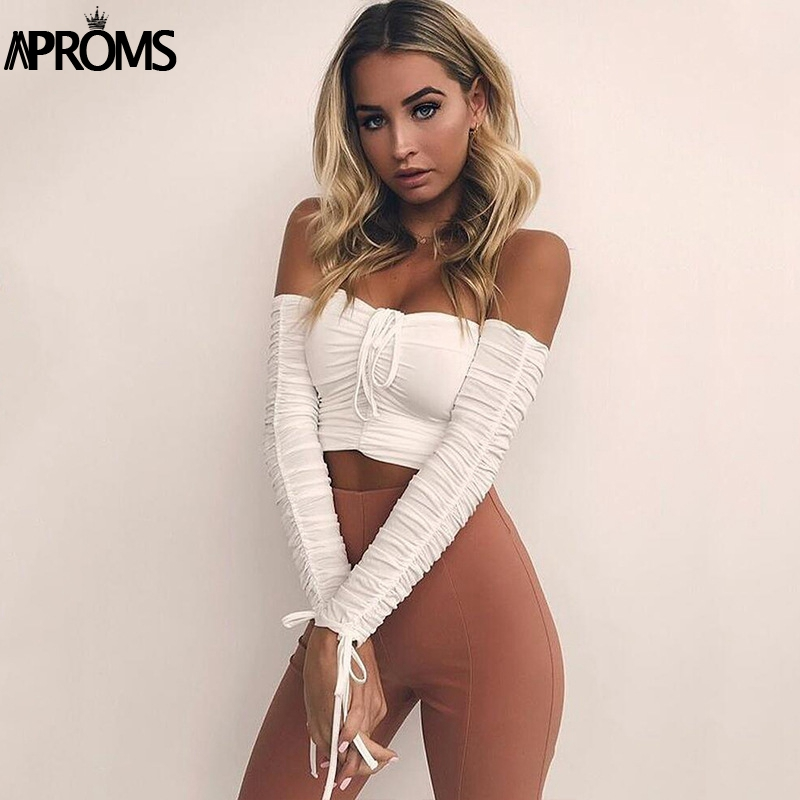 094d72d72ea Aproms Coolest Off Shoulder Crop Tops Casual Ruched Pleated White T shirt  Women Short Sleeve Cropped Tshirt for Women Clothing-in T-Shirts from  Women's ...