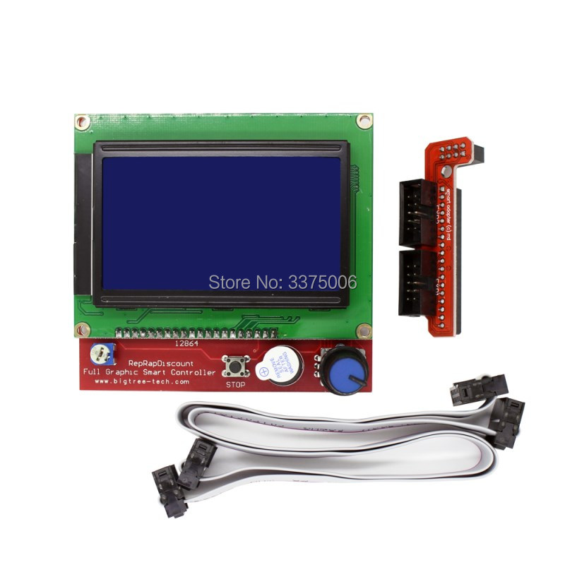 3D printer parts 12864 LCD Ramps Smart Parts RAMPS 1.4 Controller Display Monitor Motherboard Blue Screen free shipping 12864 lcd ramps parts ramps 1 4 controller control panel lcd 12864 display monitor motherboard blue screen module for anet a6