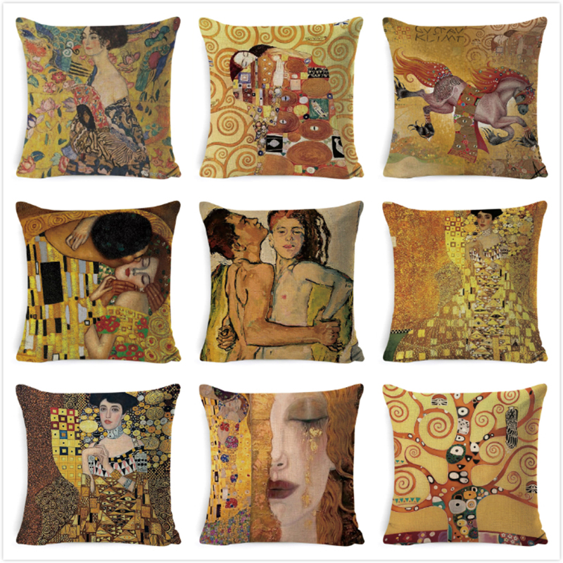Gustav Klimt Painting Cushion Cover Gold Pattern Print Pillow Cover Linen Cotton 45 45 CM Throw Pillowcase Decorative For Home in Cushion Cover from Home Garden