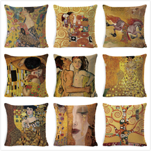 Gustav Klimt Painting Cushion Cover Gold Pattern Print Pillow Cover Linen Cotton 45*45 CM Throw Pillowcase Decorative For Home swans heart pattern decorative linen pillowcase