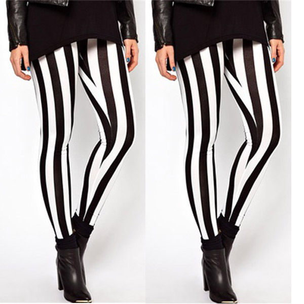 New Hot Plus Size Women Casual Black White Striped Wide Elastic Stripes Stretch Leggings Long Trousers HOT 4
